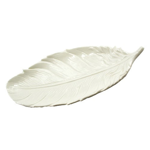 "FLOATING FEATHER TRAY CREAM PORCELAIN Small 5.75x1.25x6.75""l"