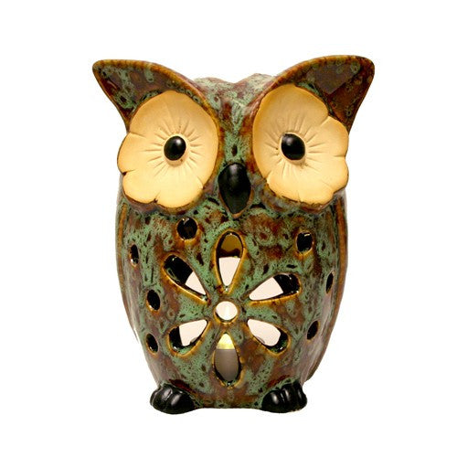 "DAISY OWL CANDLE HOLDER BROWN CERAMIC 5.25x4.24x6.5""H"