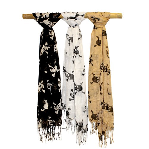 Set of 3 Assorted Cotton Skull X Bones Scarf