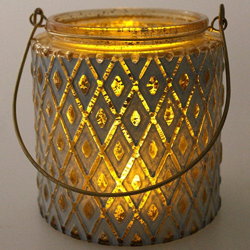 "GOLD MERCURY GLASS LANTERN W/BLUE 4.5x4.625""h + 4.5""HANDLE"