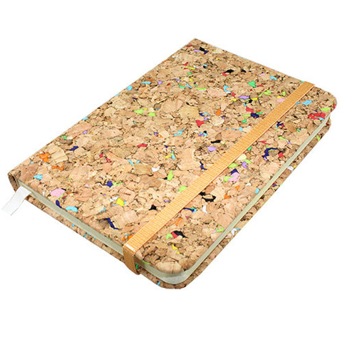 "CONFETTI CORK JOURNAL W/RIBBON BOOKMARK 3.75x.625x5.5""L"