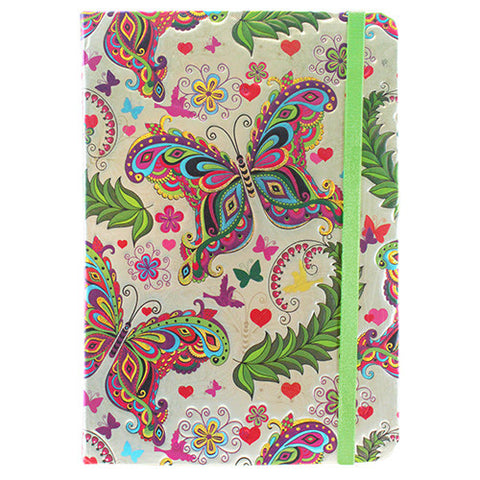 "BUTTERFLY GARDEN FOIL JOURNAL W/RIBBON BOOKMARK  5x.625x7""L"
