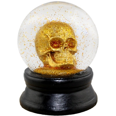 World Buyers Small Skull Glitter Snow Globe 1.813 x 2.375 Dia (Gold)