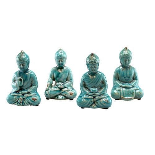 "BUDDHA ANTIQUE TURQUOISE CERAMIC SET OF 4 2.75x1.50x4.25""H"