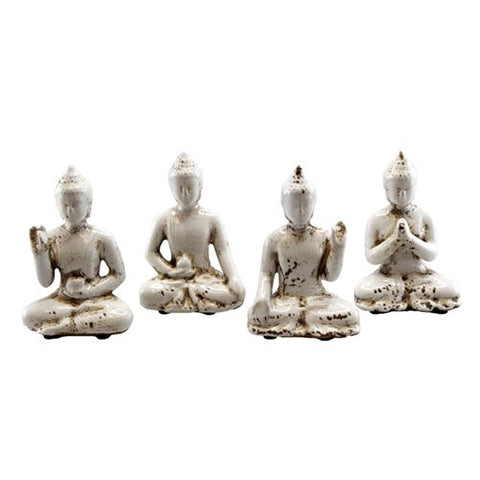 "BUDDHA ANTIQUE WHITE CERAMIC 4 PIECE SET 2.75x1.50x4.25""H"