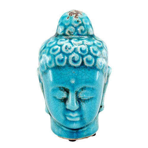 "BUDDHA BUST TURQUOISE CERAMIC SMALL 2.5 x 2.5 x 4.75""H"