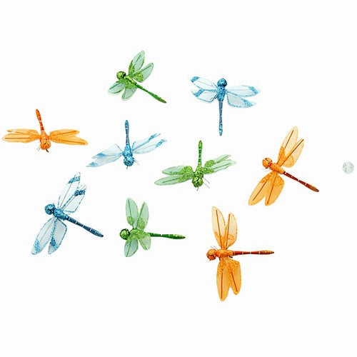 "ORGANZA BLUE/LIME/ORANGE DRAGONFLY GRARLAND 3.25x78""h"