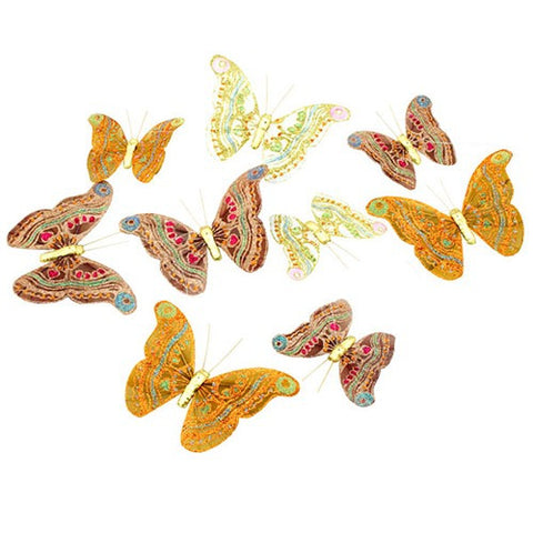 "ROYAL FALL COLORS 9 BUTTERFLY GLITTER GARLAND 5x78""L"