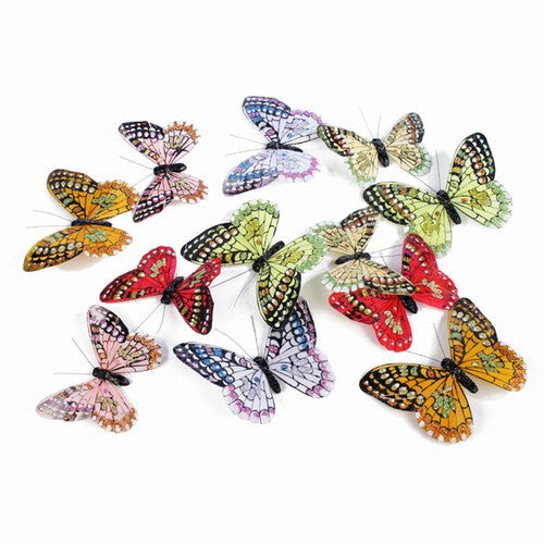 "MULTI-COLORS FALL GLITTER BTERFLY GARLAND 4.5x78""h"