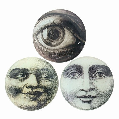 "MOON FACE & EYE  GLASS TRAYS   4"" Dia"