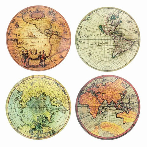 "OLD WORLD MAP GLASS TRAYS  4"" Dia"