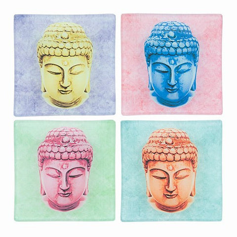 "COLORFUL BUDDHA FACE TRAY  3.75"" SQ"