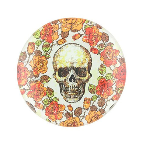"SKULL & ORANGE ROSES GLASS TRAY 4""Dia 1DZ"
