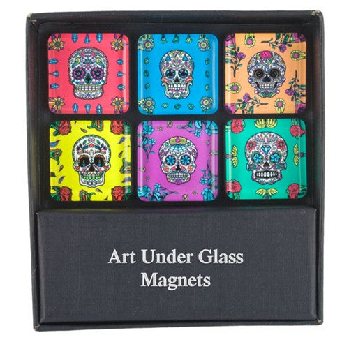 "SUGAR SKULL MAGNET GIFT SET  1.25"" Sq"