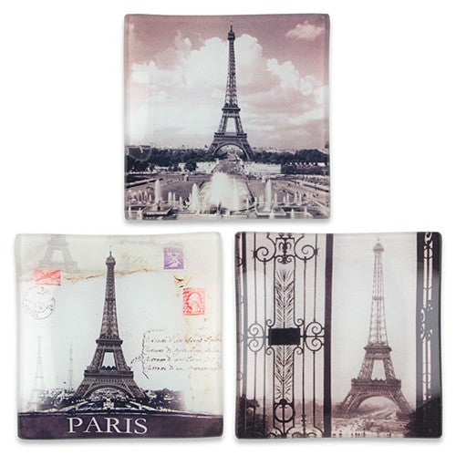 "EIFFEL TOWER GLASS TRAY 3.75""Sq ASST 1DZ"