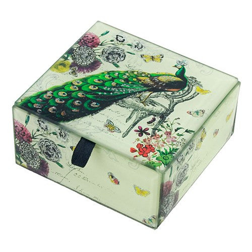Peacock Paisley Fantasy Glass Jewelry Keepsake Box