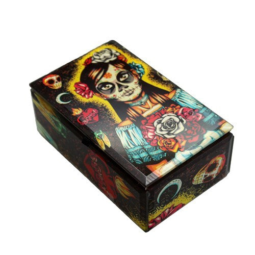 "MUERTA BRIDE GLASS BOX 5.25x3.25x2.25""h"