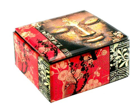 "GOLD DUST BUDDHA BOX GLASS 4x4x2.25""H"