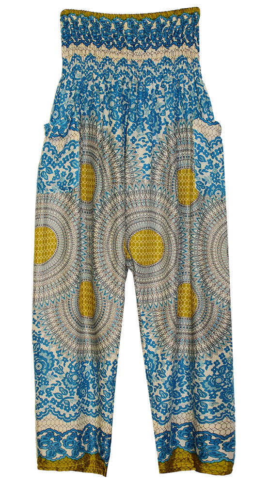 HAREM PANTS WITH POCKETS AND WIDE STRAIGHT LEG CREAM/AQUA/GOLD