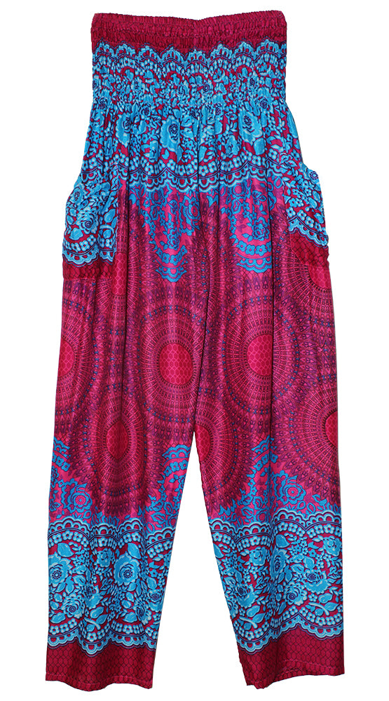 HAREM PANTS WITH POCKETS AND WIDE STRAIGHT LEG FUSHIA/TURQUOISE