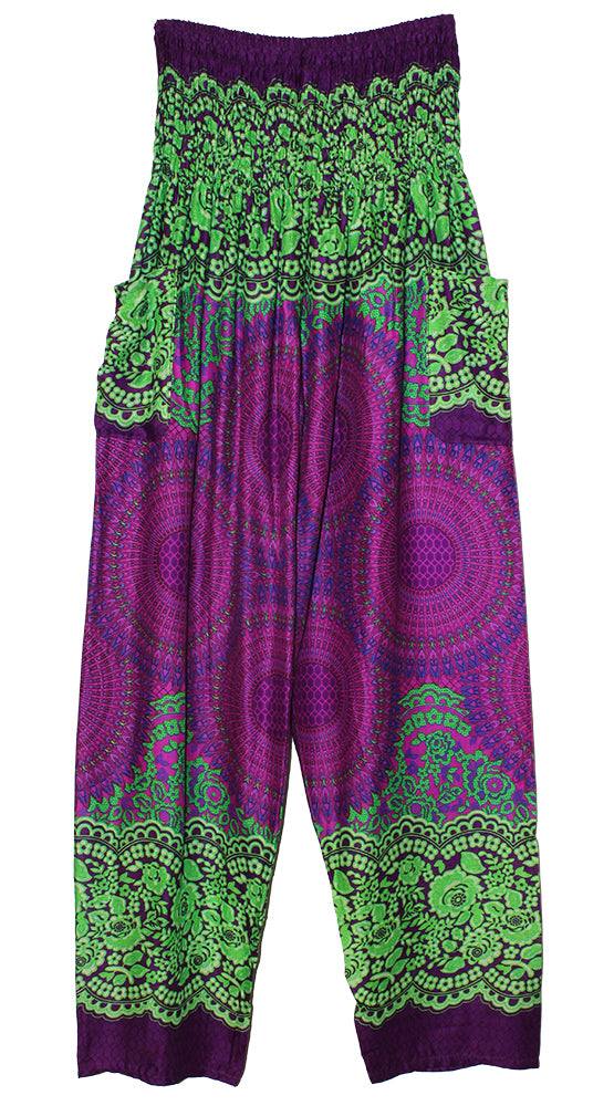 HAREM PANTS WITH POCKETS AND WIDE STRAIGHT LEG PURPLE/LIME/MEDALLION