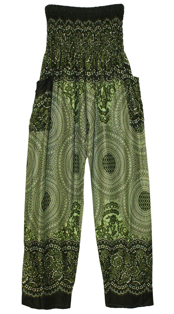 HAREM PANTS WITH POCKETS AND WIDE STRAIGHT LEG GREEN MEDALLION