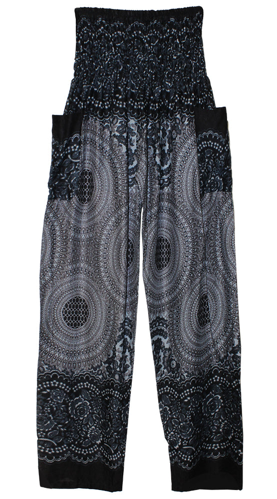 HAREM PANTS WITH POCKETS AND WIDE STRAIGHT LEG BLACK ON GRAY MEDALLION