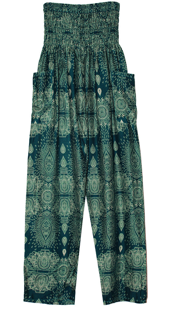 HAREM PANTS WITH POCKETS AND WIDE STRAIGHT LEG TEAL/CREAM