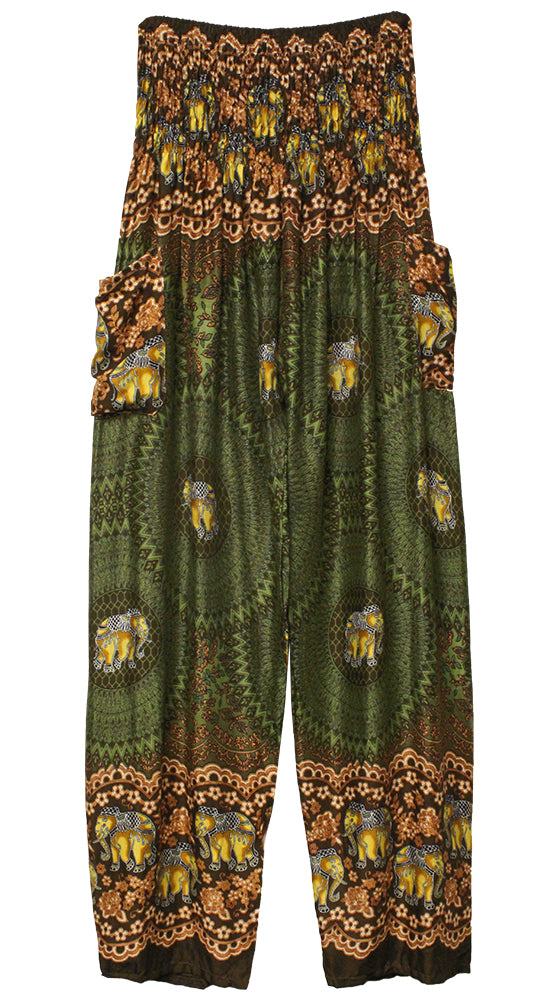 HAREM PANTS WITH POCKETS AND WIDE STRAIGHT LEG   OLIVE/BROWN