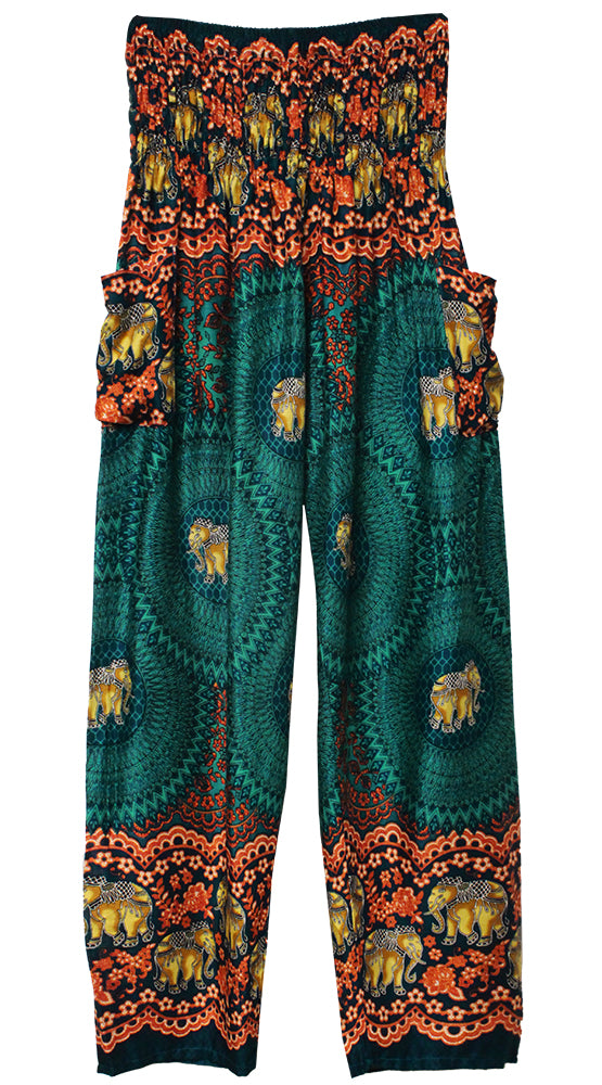 HAREM PANTS WITH POCKETS AND WIDE STRAIGHT LEG TEAL/ORANGE