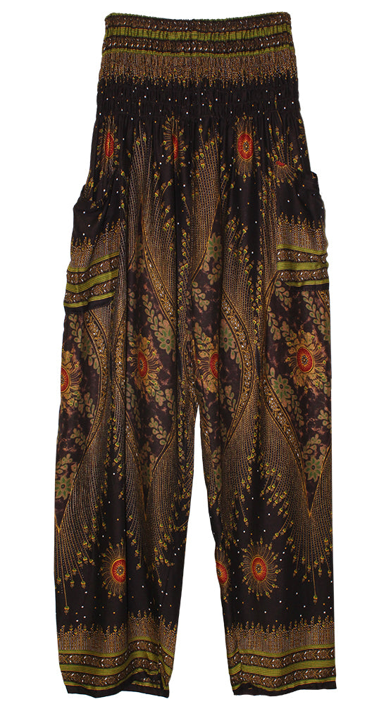 HAREM PANTS WITH POCKETS AND WIDE STRAIGHT LEG   BROWN/GREEN/WINE
