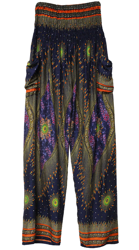 HAREM PANTS WITH POCKETS AND WIDE STRAIGHT LEG NAVY/RED/GREEN