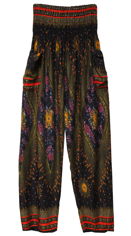 HAREM PANTS WITH POCKETS AND WIDE STRAIGHT LEG NAVY/RED/SIENNA