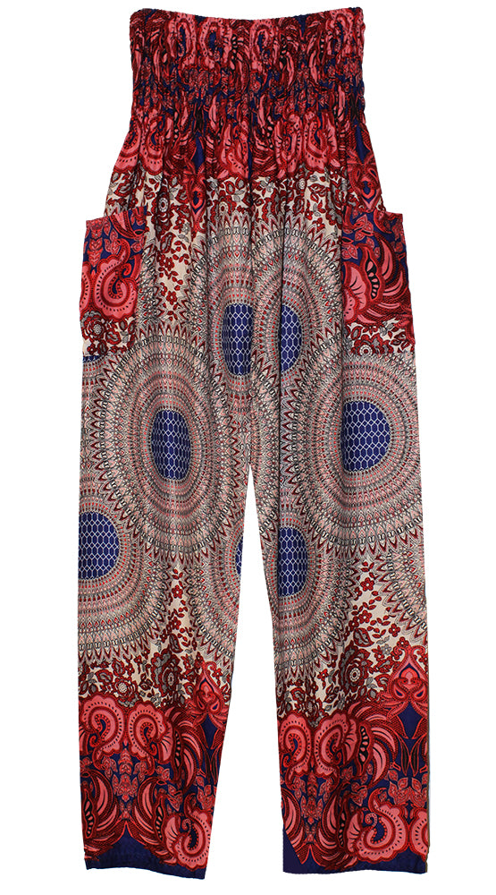 HAREM PANTS WITH POCKETS AND WIDE STRAIGHT LEG CREAM/RED/PURPLE