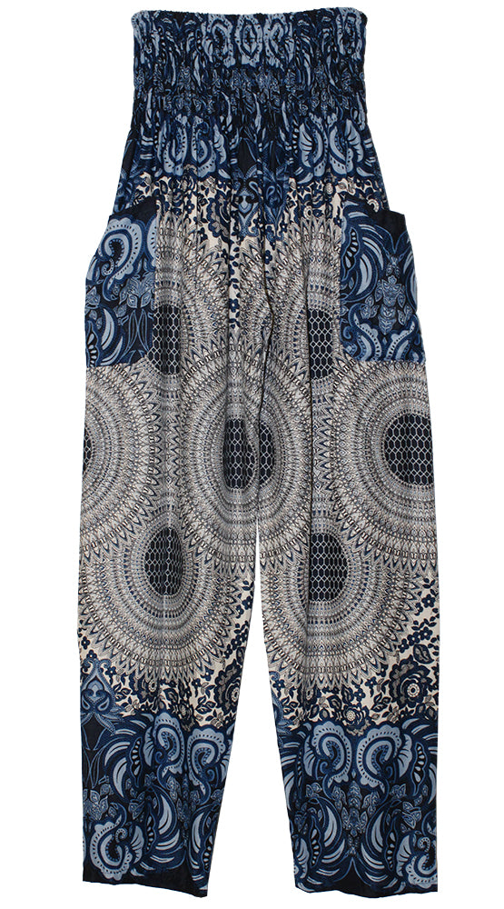 HAREM PANTS WITH POCKETS AND WIDE STRAIGHT LEG   CREAM/BLUE/BLACK