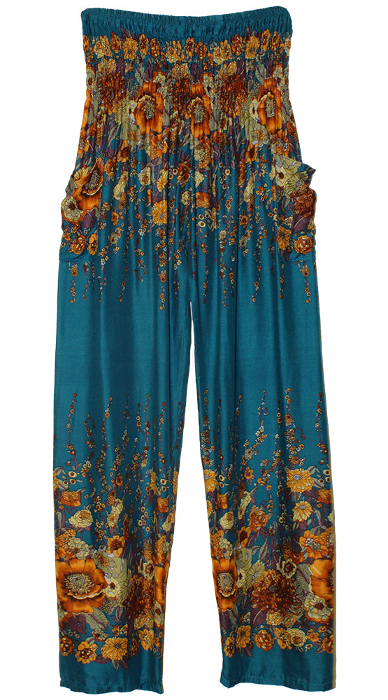 HAREM PANTS WITH POCKETS AND WIDE STRAIGHT LEG   TEAL/BROWN/YELLOW