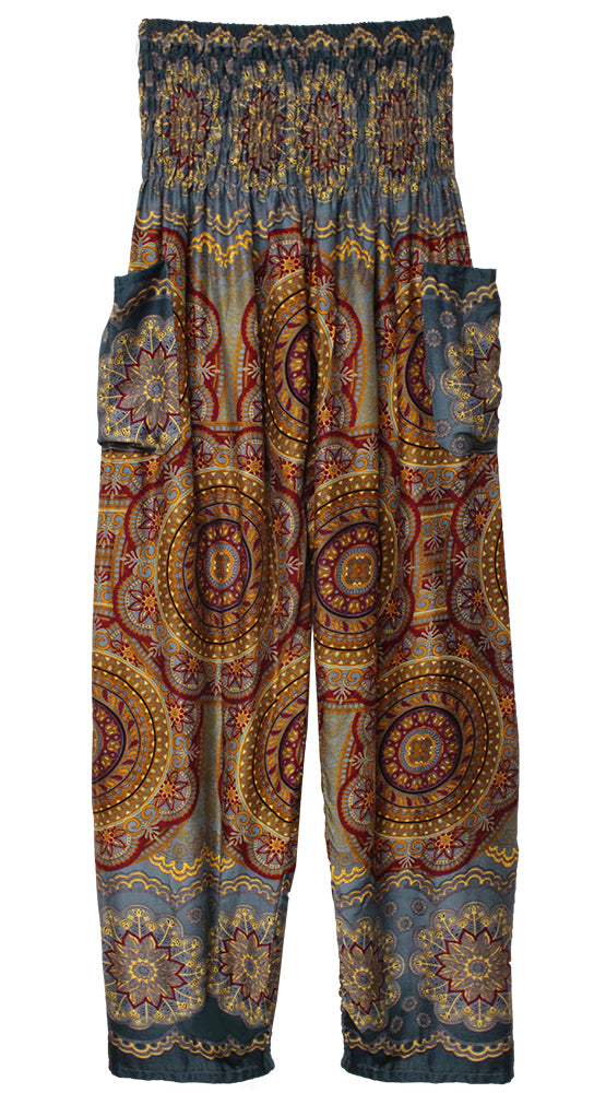 HAREM PANTS WITH POCKETS AND WIDE STRAIGHT LEG SLATE/WINE/YELLOW