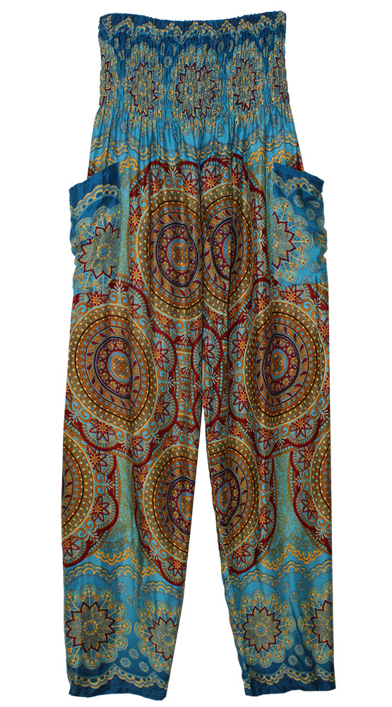 HAREM PANTS WITH POCKETS AND WIDE STRAIGHT LEG TEAL/WINE/YELLOW