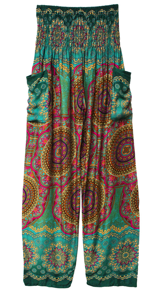 HAREM PANTS WITH POCKETS AND WIDE STRAIGHT LEG EMERALD/FUCSHIA/YELLOW