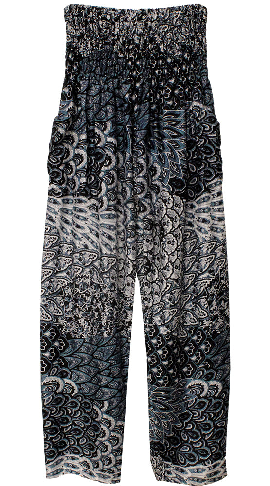 HAREM PANTS WITH POCKETS AND WIDE STRAIGHT LEG BLACK/WHITE/BLUE