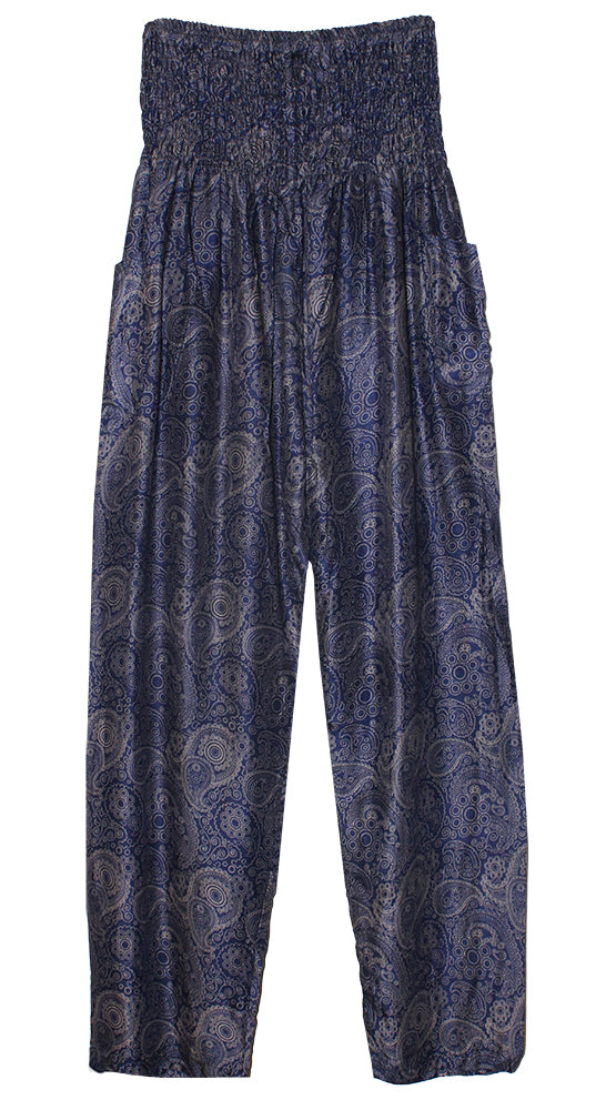 HAREM PANTS WITH POCKETS AND WIDE STRAIGHT LEG NAVY/GRAY