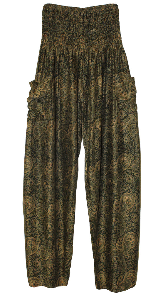 HAREM PANTS WITH POCKETS AND WIDE STRAIGHT LEG OLIVE/TAN PAISLEY