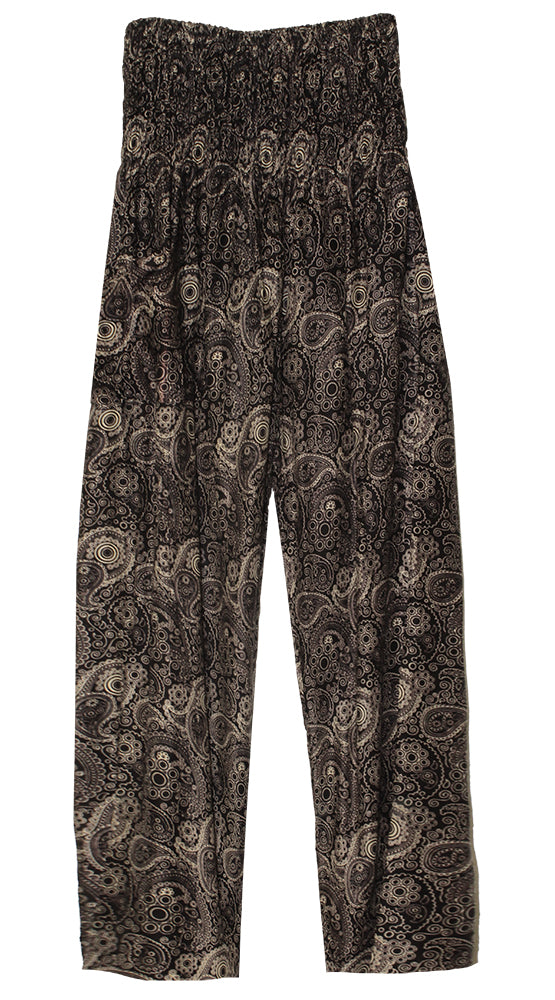 HAREM PANTS WITH POCKETS AND WIDE STRAIGHT LEG BLACK/CREAM