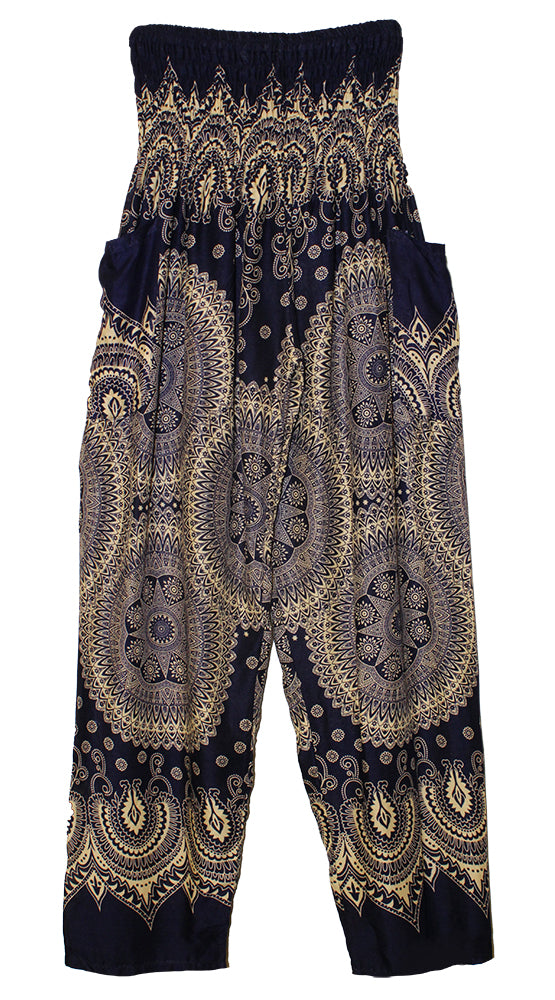 HAREM PANTS WITH POCKETS AND WIDE STRAIGHT LEG NAVY/CREAM