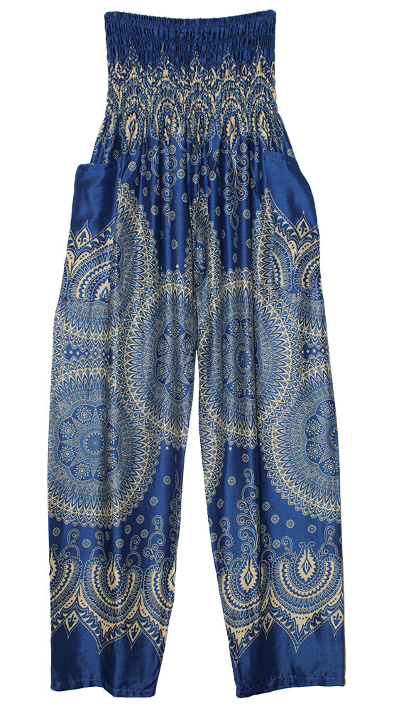 HAREM PANTS WITH POCKETS AND WIDE STRAIGHT LEG ROYAL BLUE/CREAM