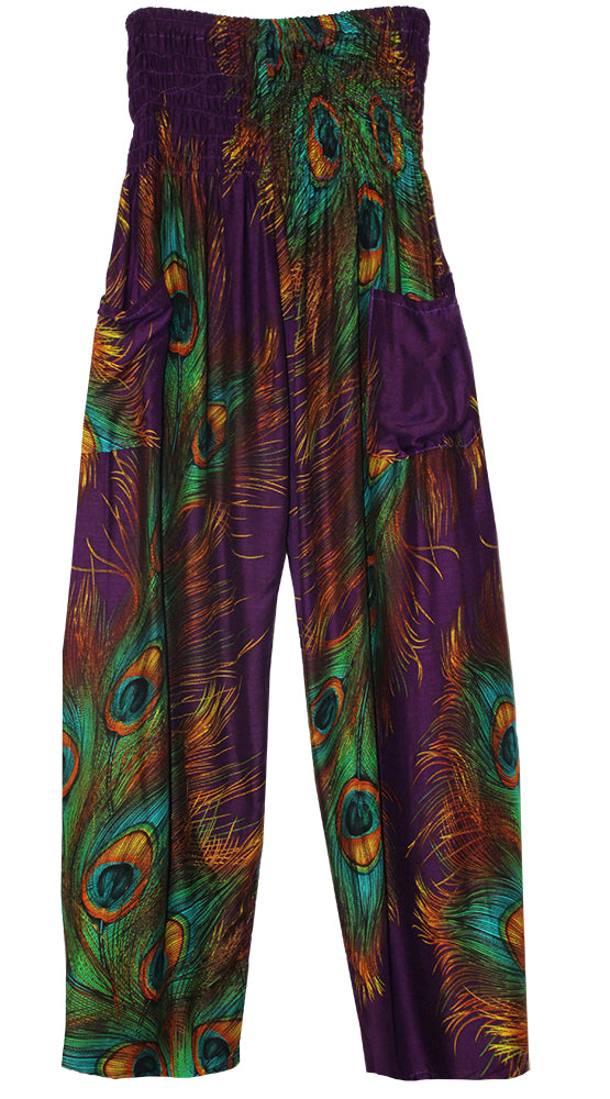 HAREM PANTS WITH POCKETS AND WIDE STRAIGHT LEG PURPLE PEACOCK