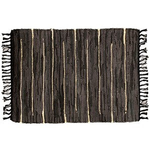 "MIDNIGHT GOLD LEATHER RUG 25x42""W"