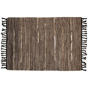 "GOLDEN EARTH LEATHER & METALLIC RUG 25x42""W"