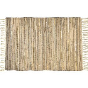 "DESERT SANDS GOLD LEATHER RUG 25x42""W"
