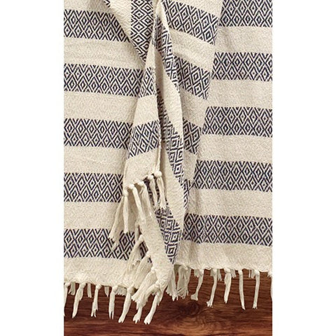 NAVY DIAMOND STRIPES COTTON THROW  52x68'L